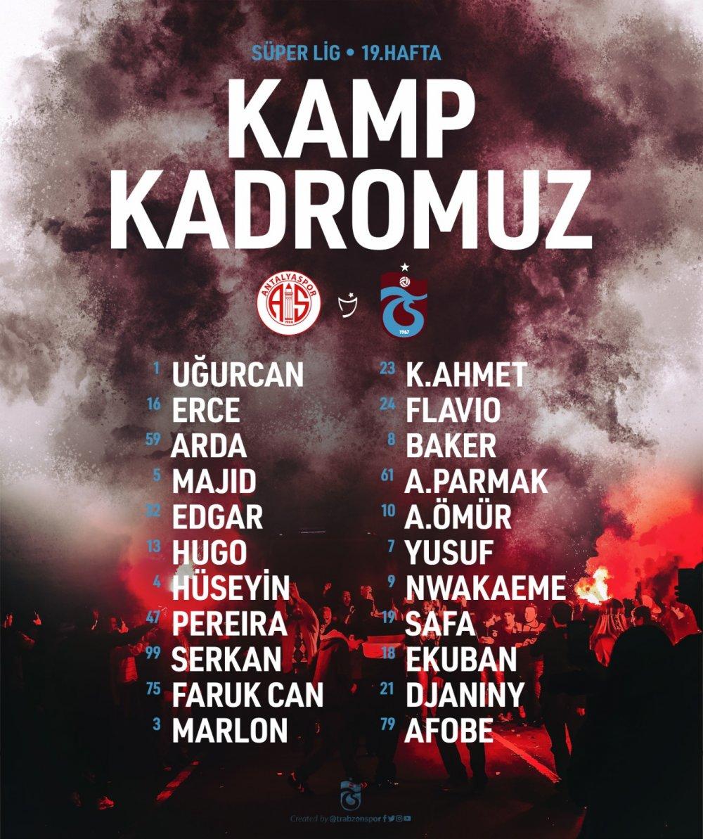 Trabzonspor'un Antalya kadrosu açıklandı
