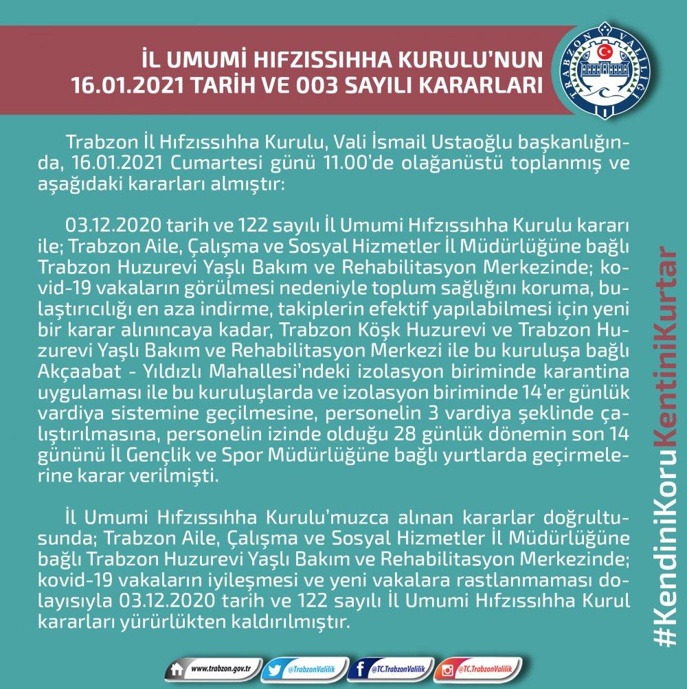 Trabzon valiliği açıkladı! O karar kaldırıldı