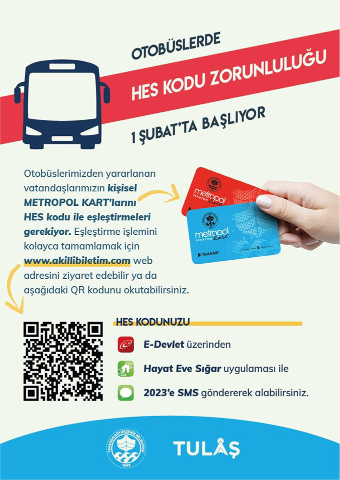 Trabzon'da HES kodu olmayan belediye otobüsüne binemeyecek
