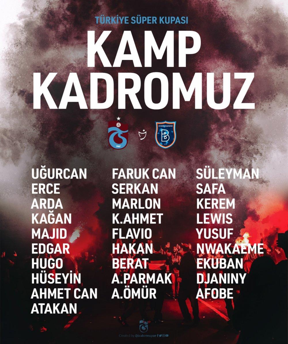 Trabzonspor'un Süper Kupa kadrosu açıklandı