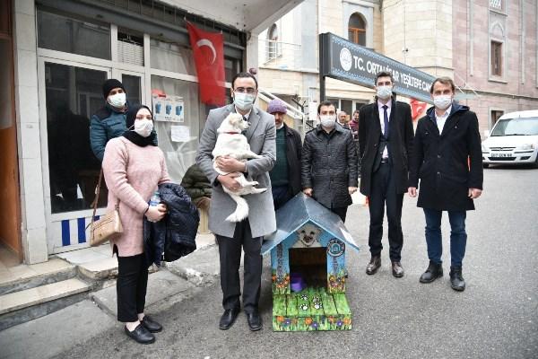 Trabzon'da vefalı köpek 'Boncuk' kulübesine kavuştu