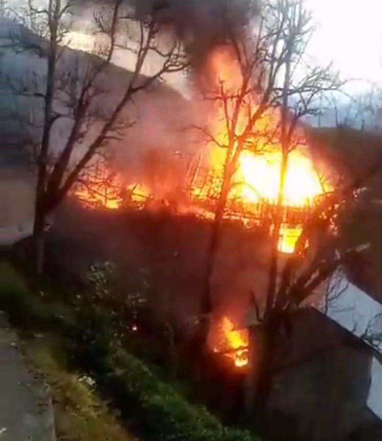 Rize'de yangını gören kişi şoka girdi!