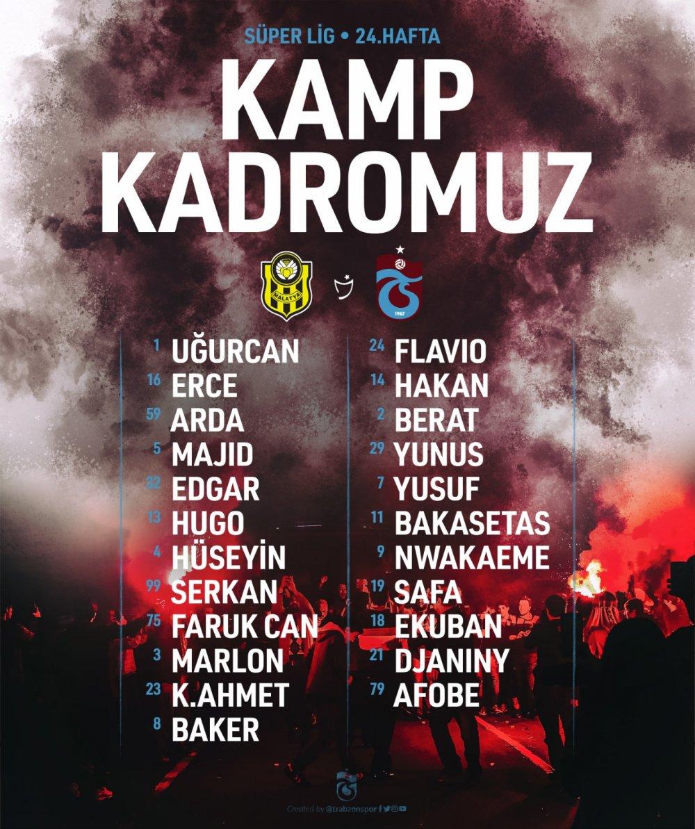 Trabzonspor'un Malatya kamp kadrosu belli oldu
