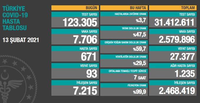 Türkiye'nin koronavirüs raporu - 13.02.2021