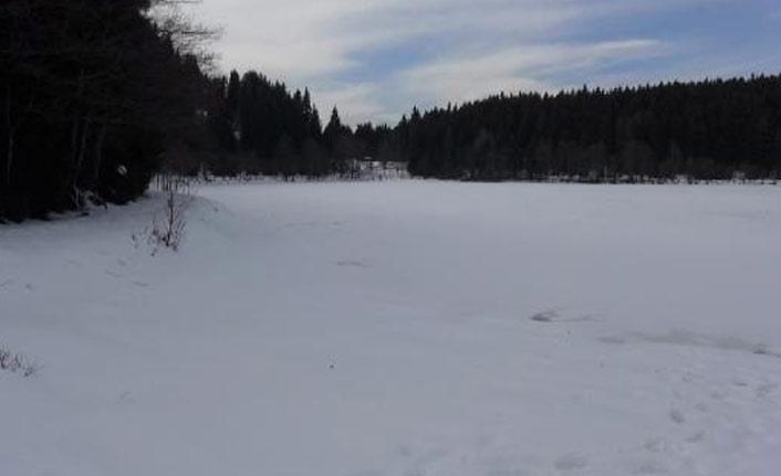 Karagöl buz tuttu muhteşem manzara oluştu