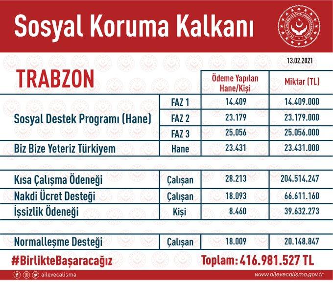 Sosyal Koruma Kalkanında Trabzon'a ne kadar destek verildi?