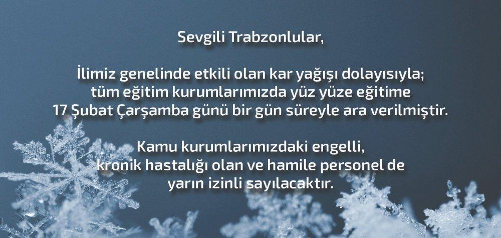 Trabzon'da okullarda eğitime kar arası