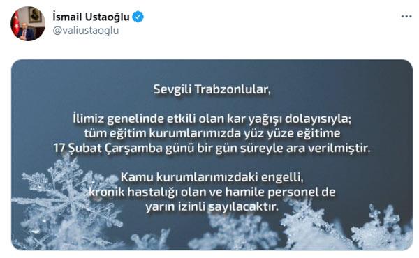 Trabzon'da okullarda eğitime kar engeli