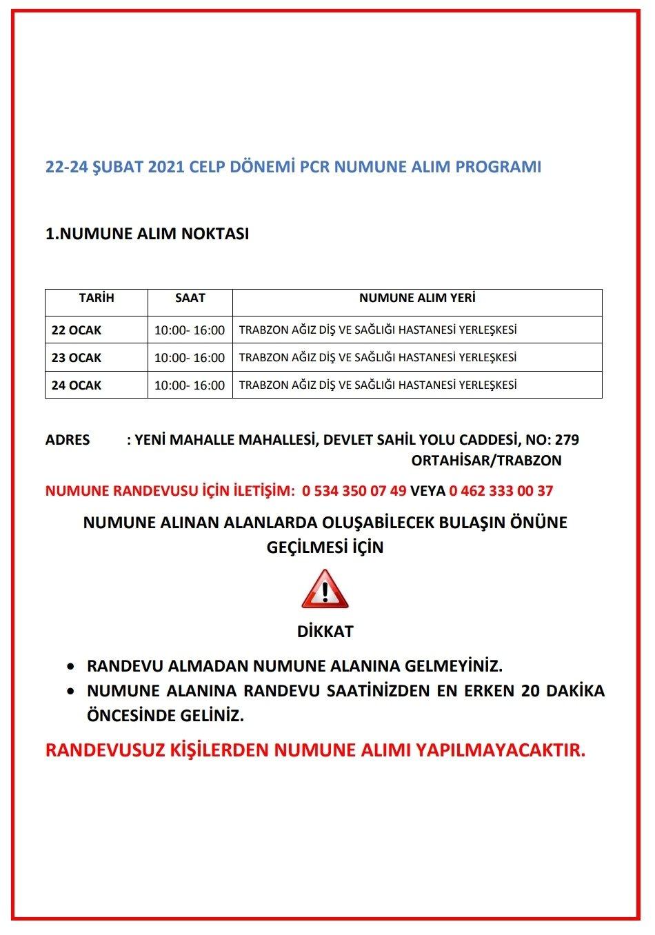 Trabzon İl Sağlık Müdürlüğü açıkladı! İşte program