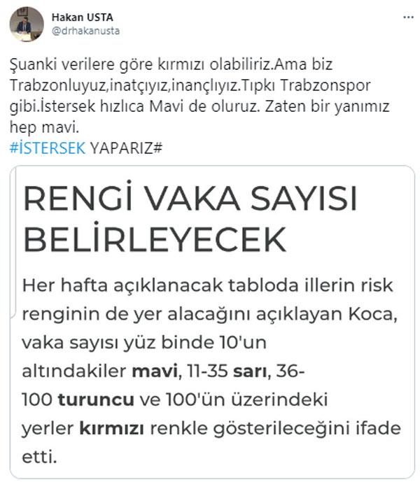 """Hakan Usta'dan Trabzonsporlu vaka sayıları mesajı! """"Kırmızı olabiliriz ama bir yanımız hep mavi"""""""