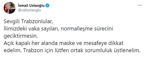 """Trabzon Valisi Ustaoğlu Uyardı! """"Normalleşme gecikmesin"""""""