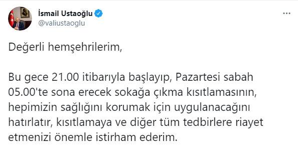 """Vali Ustaoğlu uyardı! """"Kısıtlamaya ve diğer tüm tedbirlere…"""""""