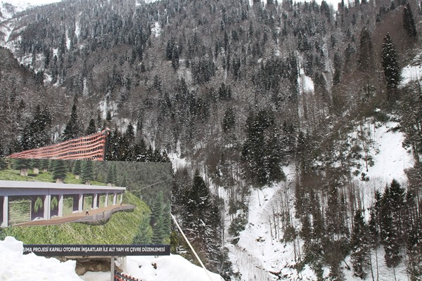 Ayder Yaylası'nda dağın içerisine çevreci otopark