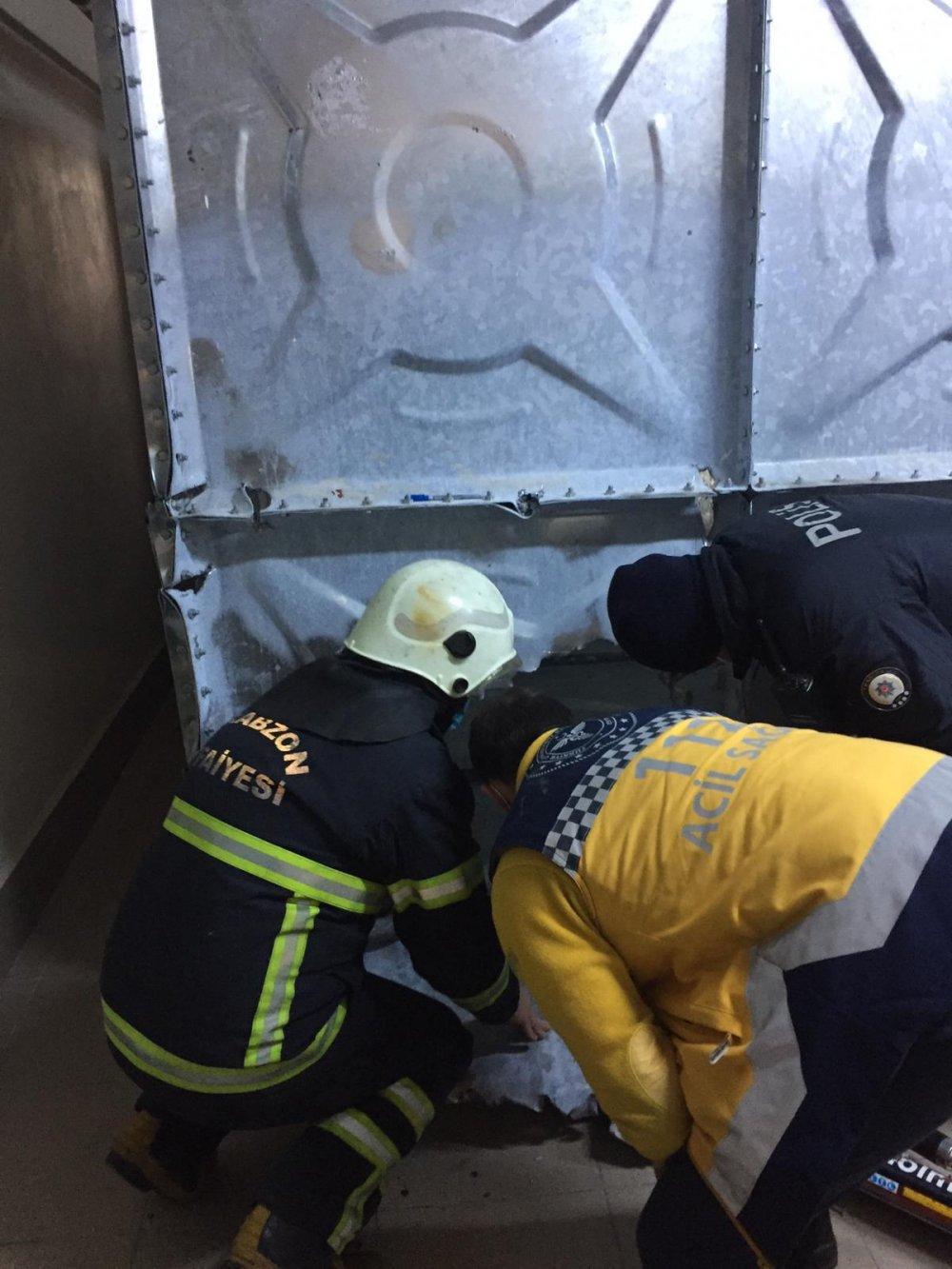Trabzon'da tinerden etkilenen işçiler mahsur kaldı