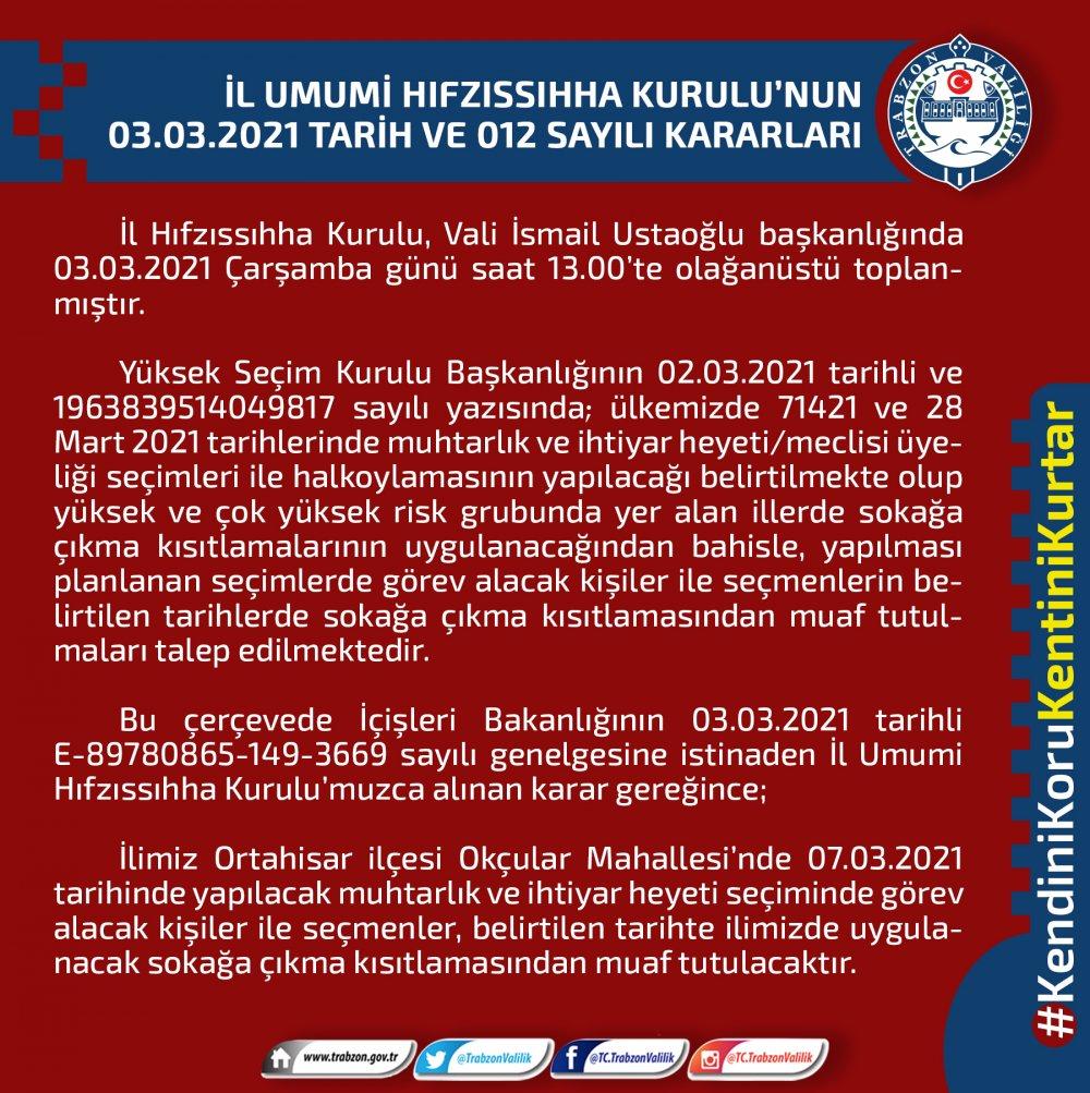 Trabzon'da o mahalle sokağa çıkma yasağından muaf