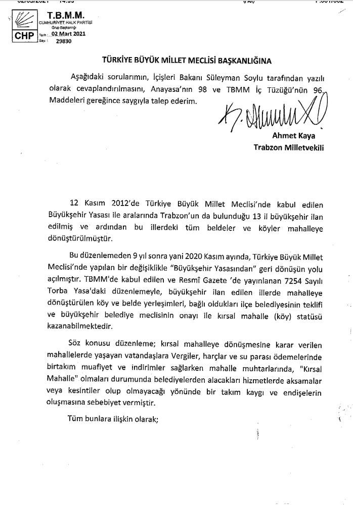 Ahmet Kaya'dan Bakan Soylu'ya 7 soruluk önerge!