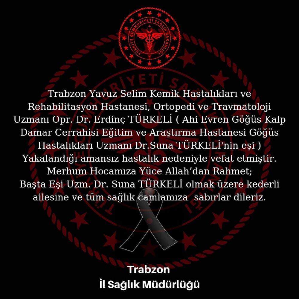 Doktor Erdinç Türkeli amansız hastalığa yenildi