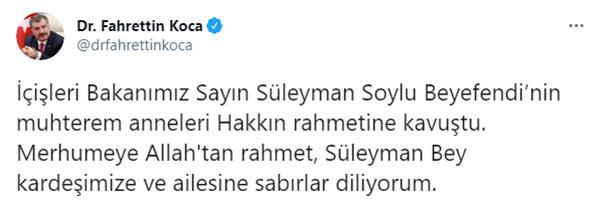 Süleyman Soylu'nun annesi vefat etti!