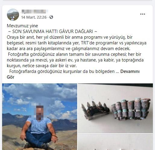 Dağda bulduğu Osmanlı-Rus Savaşında kullanılan mühimmatı paylaştı gözaltına alındı