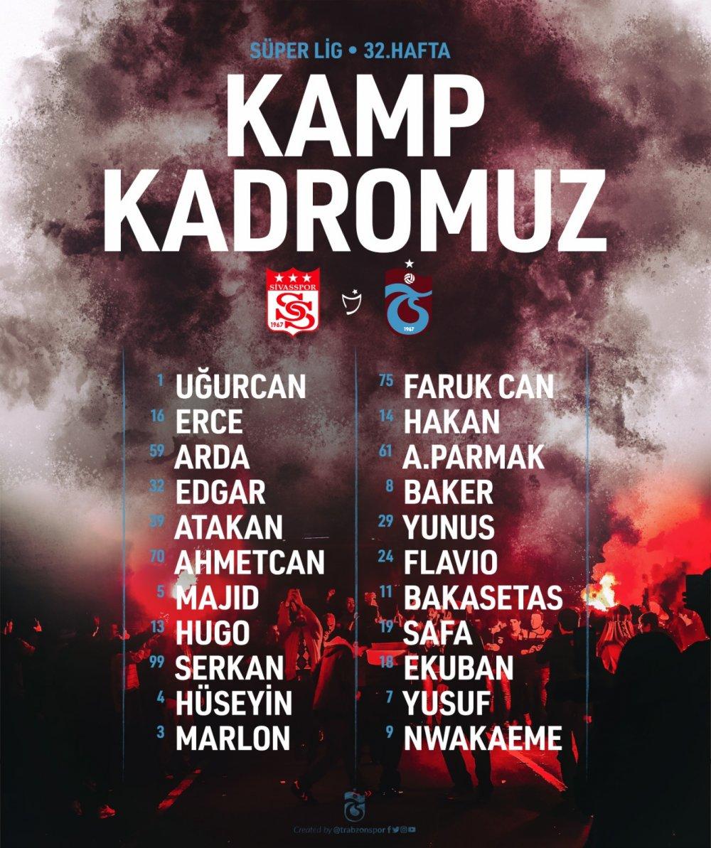 Trabzonspor'un Sivas kadrosu açıklandı