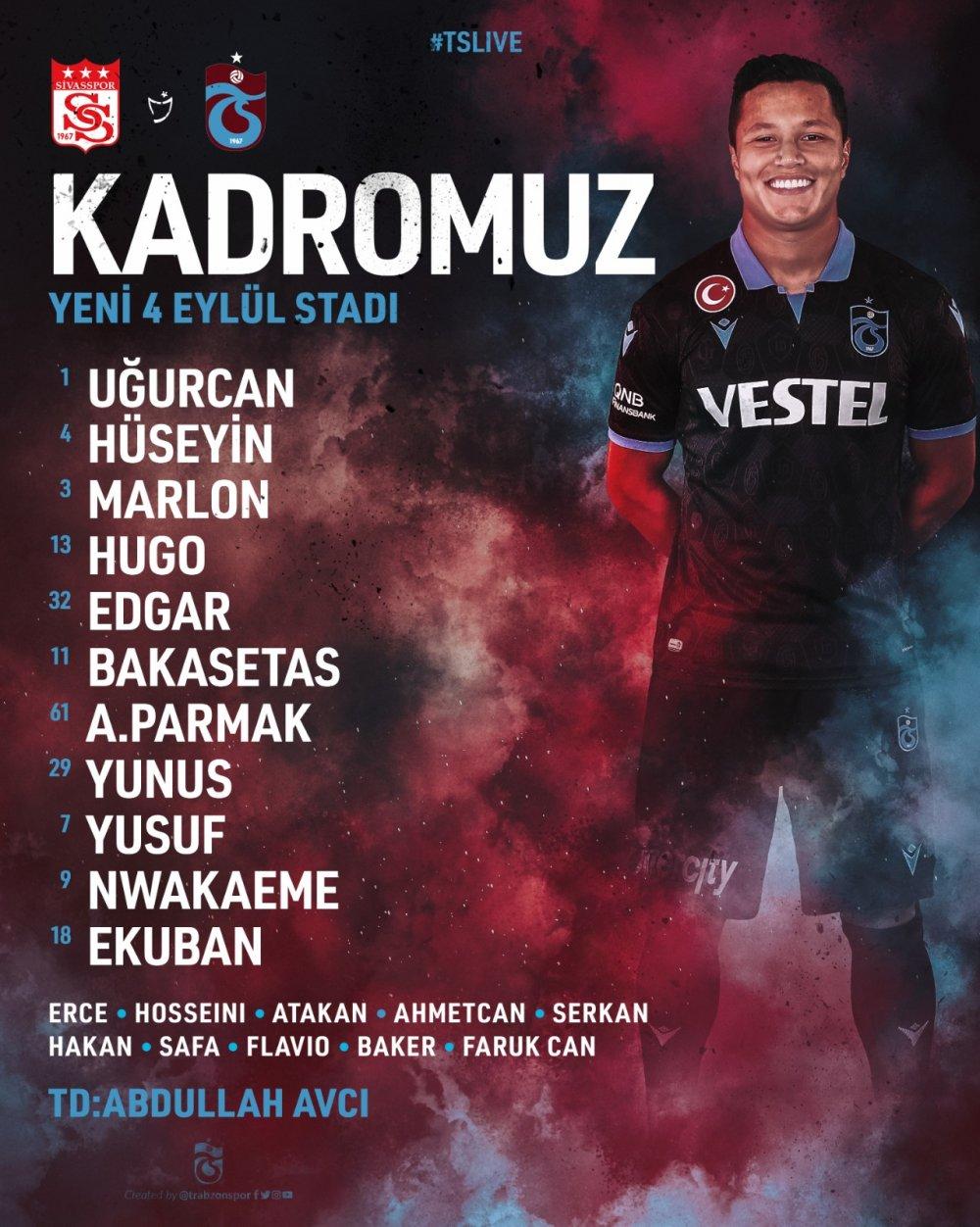 Sivasspor Trabzonspor maçının 11'leri açıklandı