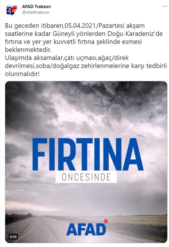AFAD Trabzon Uyardı! Doğu Karadeniz'de fırtına