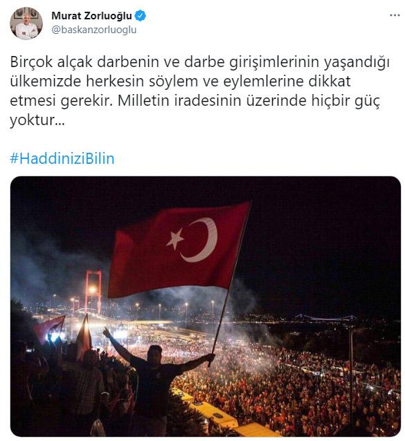 """Zorluoğlu'ndan 103 Amiralin bildirisine tepki! """"Milletin iradesinin üzerinde"""""""