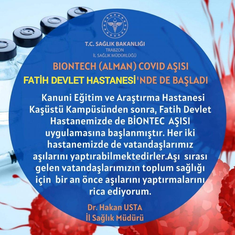 Trabzon'da Biontech aşısı orada da yapılmaya başlandı