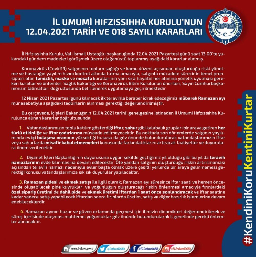 Trabzon İl Hıfzıssıhha Kurulu'ndan Ramazan kararları