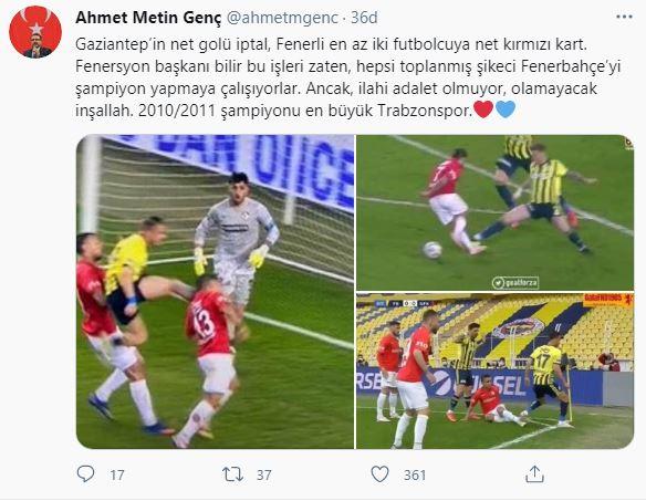 Genç'ten sert tepki: Şikeci Fenerbahçe'yi şampiyon yapmaya çalışıyorlar