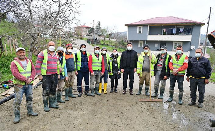 Ordu'da beton yol çalışmaları devam ediyor