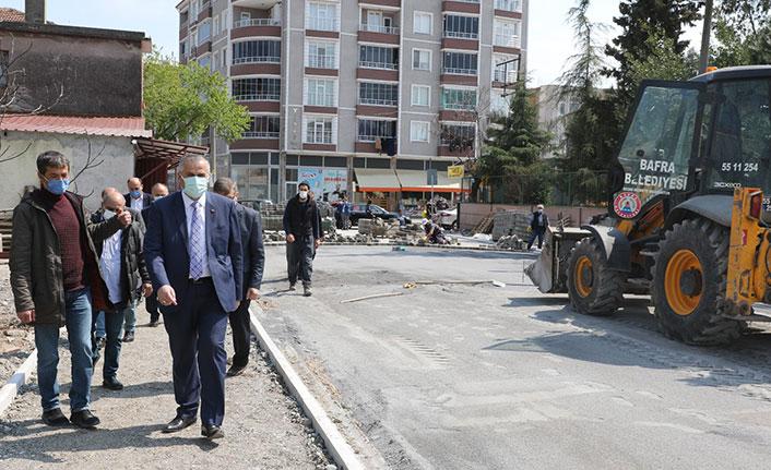 Samsun'da yol-kaldırım çalışması
