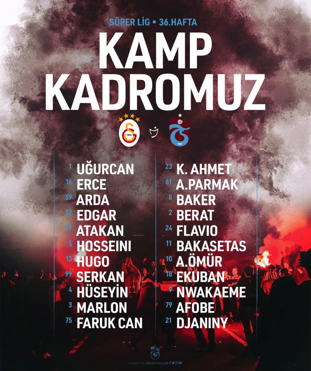 Trabzonspor'un Galatasaray kadrosu açıklandı