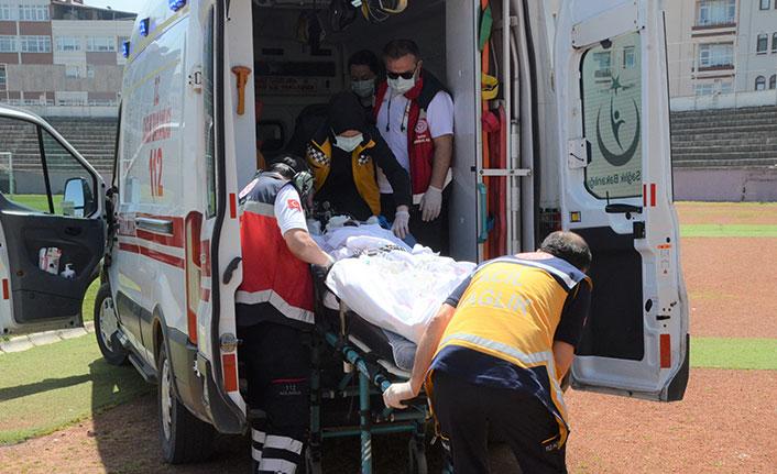 İş kazasında yaralanan işçi için ambulans helikopter havalandı