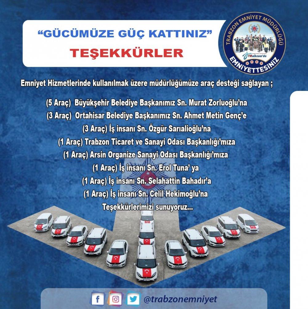 Trabzon Emniyetine büyük destek