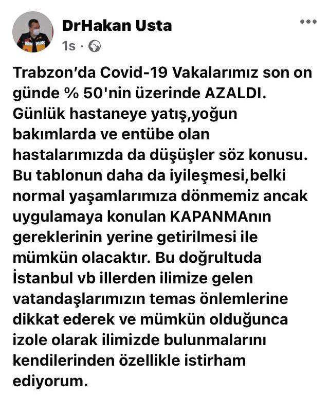 """Trabzon'da vakalar yüzde 50 azaldı dedi ve uyardı! """"Şehir dışından gelenler izole olsun"""""""