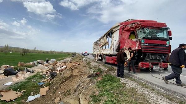 Trabzon plakalı tır devrildi
