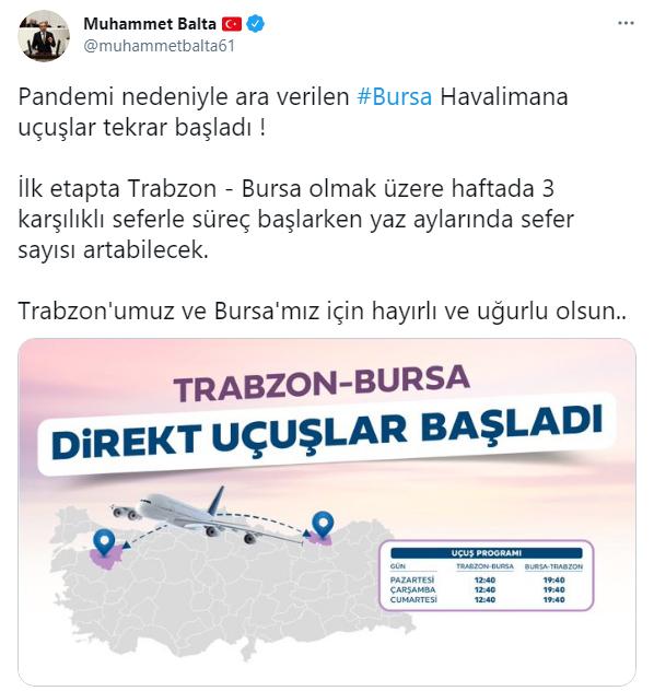 Trabzon Milletvekili açıkladı! Trabzon'a direk uçuşlar başladı