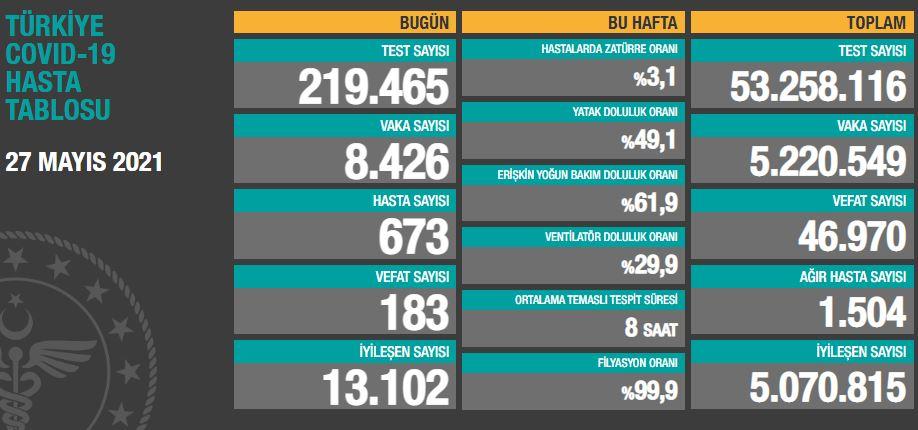 Türkiye'de günün koronavirüs raporu - 27.05.2021