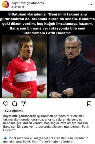 Batuhan Karadeniz'den Galatasaray açıklaması