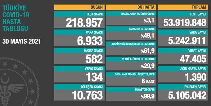 Türkiye'de günün koronavirüs raporu - 30.05.2021