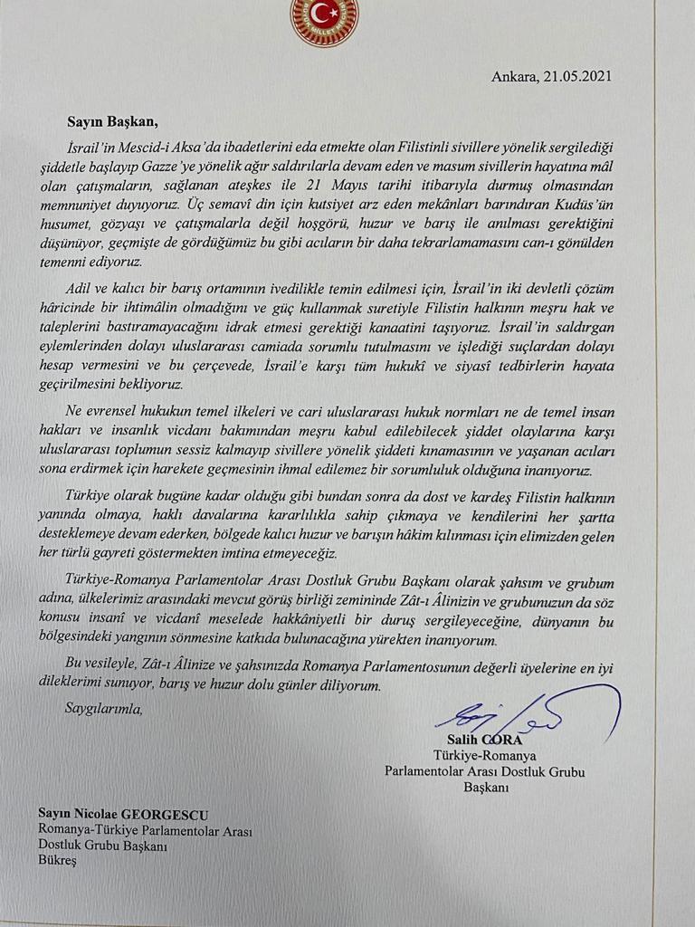 Başkan Cora, Romanya'ya mektup yazdı