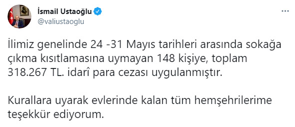 Trabzon Valisi açıkladı! 148 Kişiye kısıtlama cezası