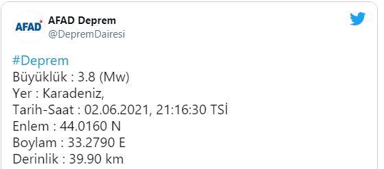 Karadeniz açıklarında deprem!