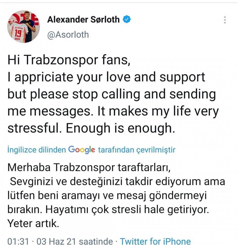 Trabzonspor taraftarı Sörloth'u kızdırdı: Yeter!