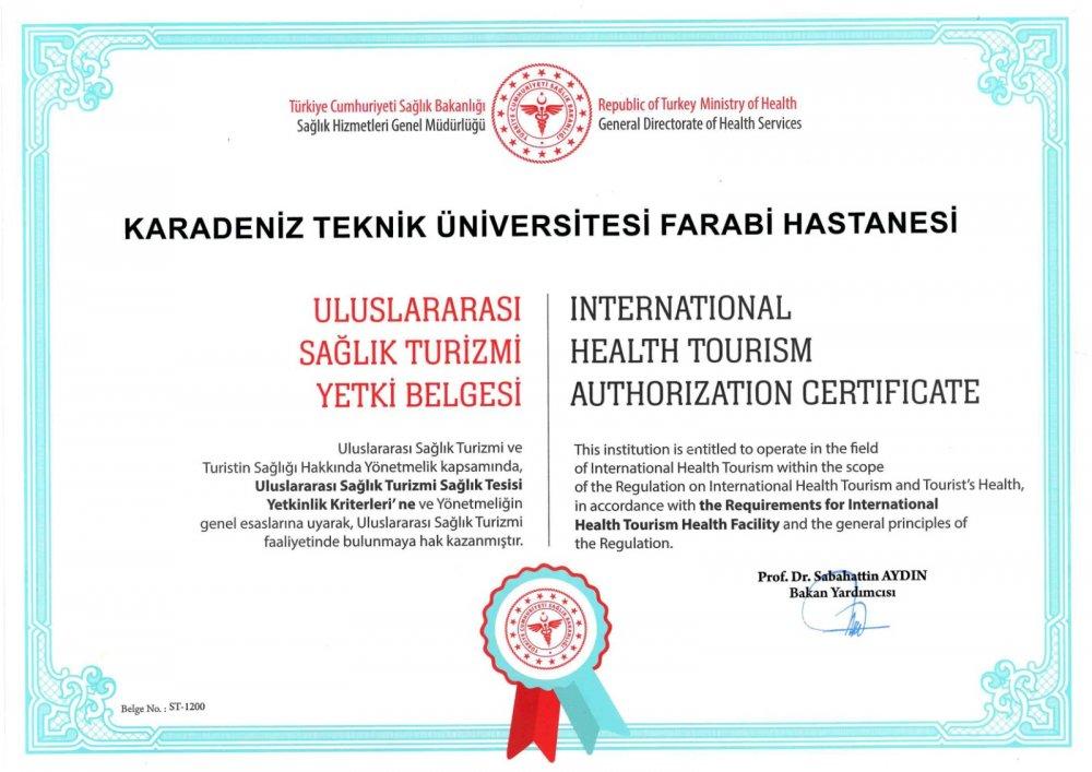 KTÜ Farabi Hastanesine Sağlık Turizmi Yetki Belgesi
