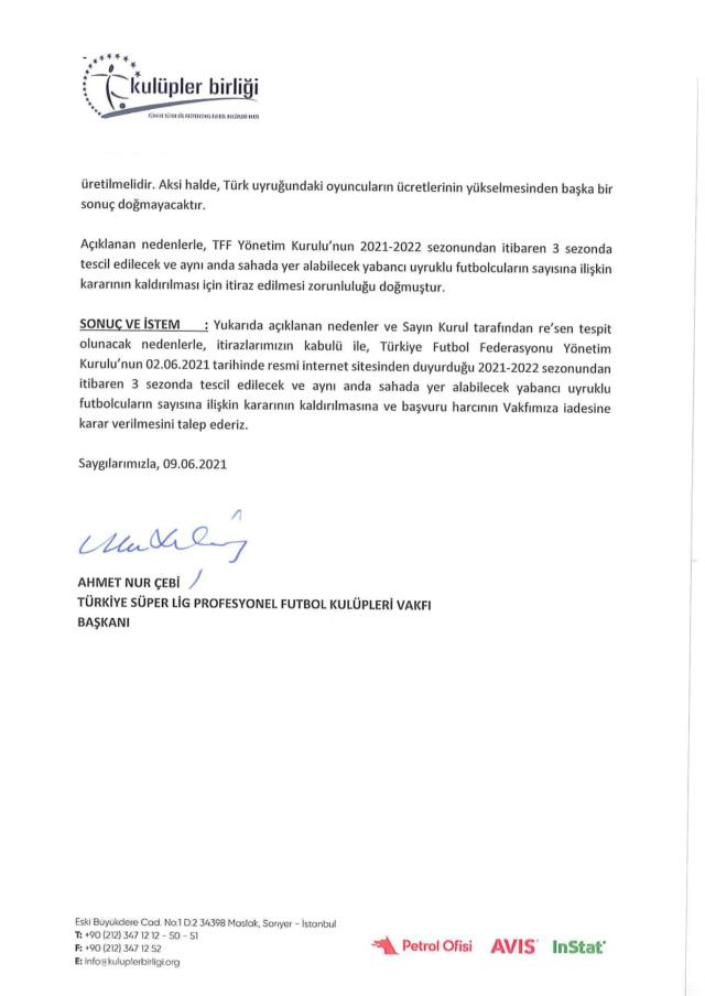 Kulüpler Birliği'nden yabancı kuralı için resmi başvuru!