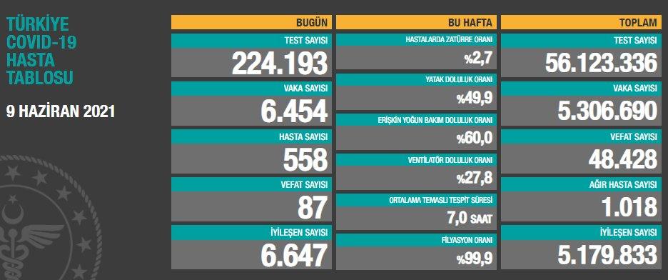 Türkiye'de günün koronavirüs raporu 09.06.2021