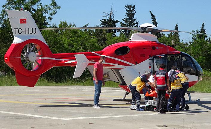 Kalp krizi geçiren hastanın yardımına ambulans helikopter yetişti