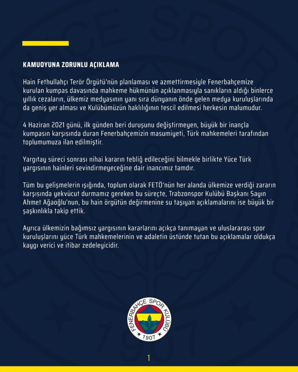 Ağaoğlu vurdu, Fenerbahçe'den ses geldi